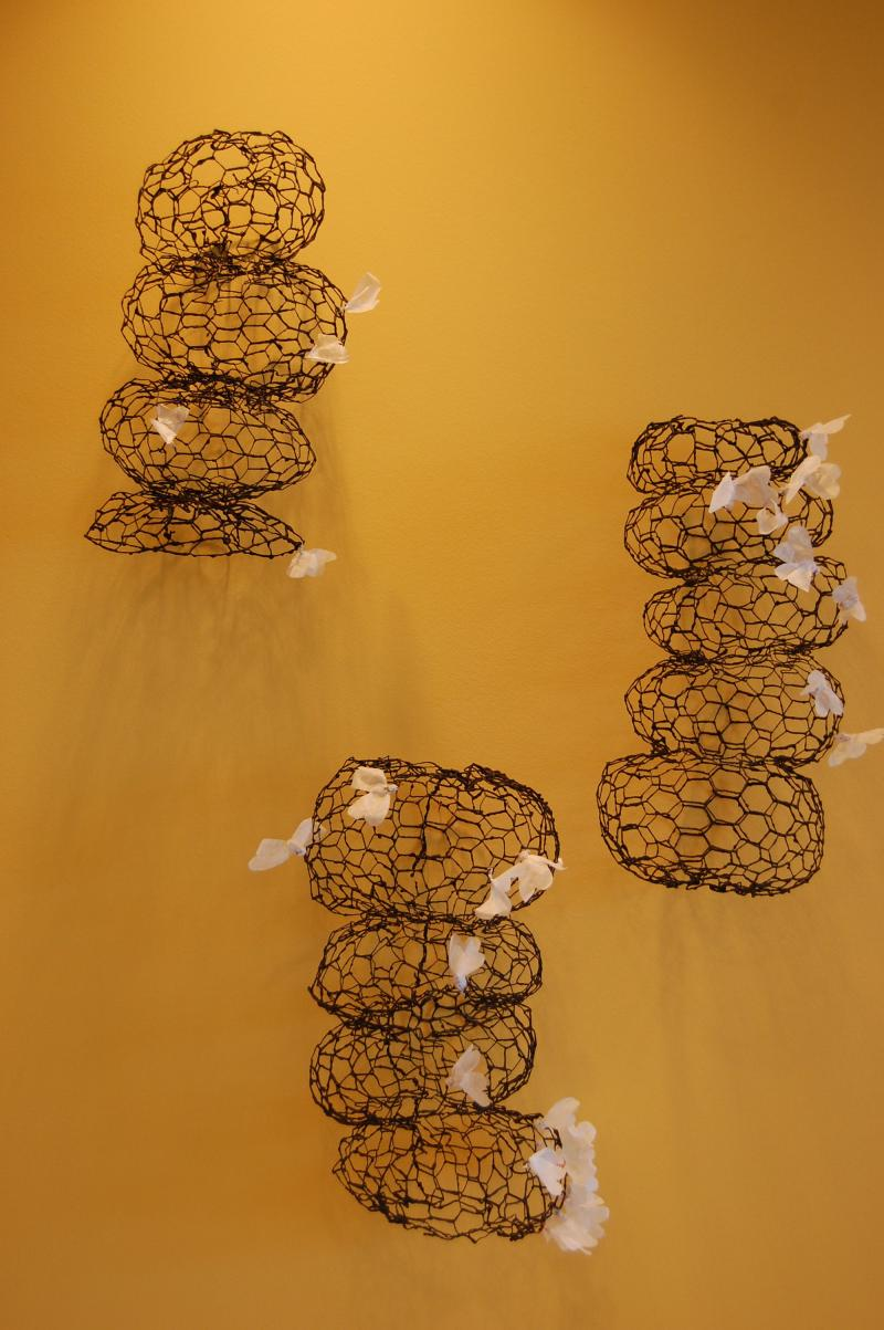 """Flutter"" (14 sculptures) ,	Wax, metal, papper  variable dimensions, 2011-12"